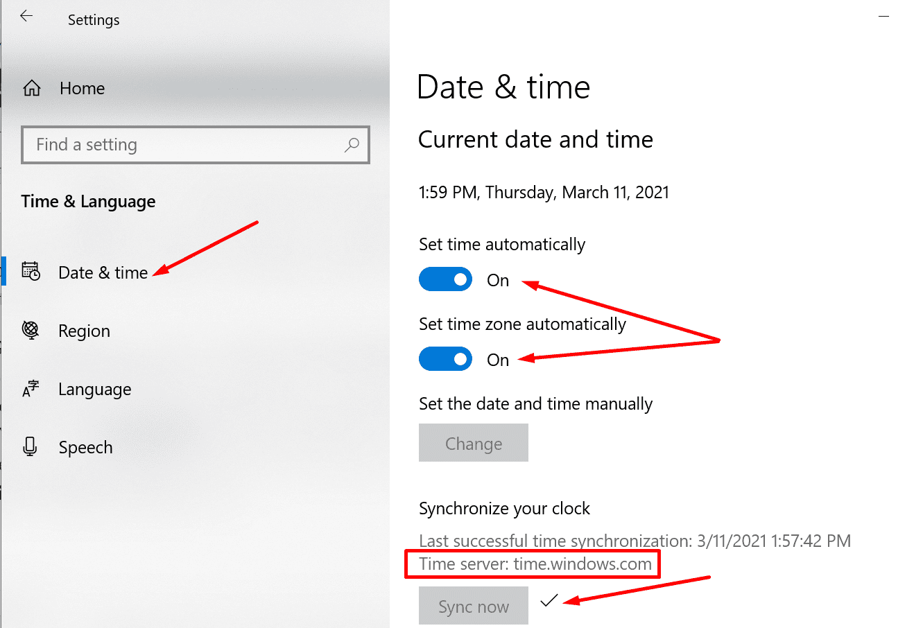 date and time setting sync time server
