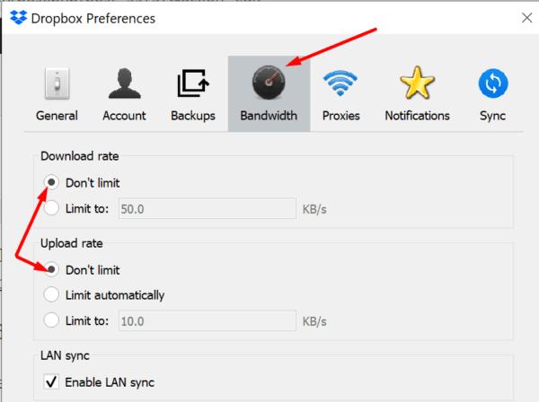 dropbox upload download bandwidth settings
