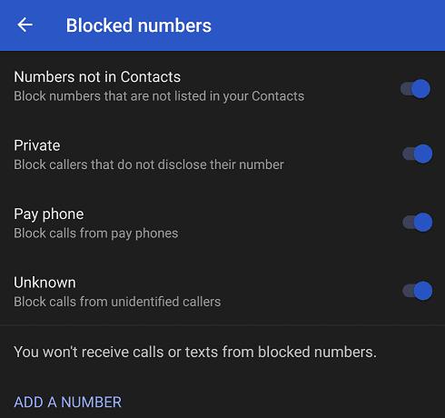 google pixel Blocked numbers