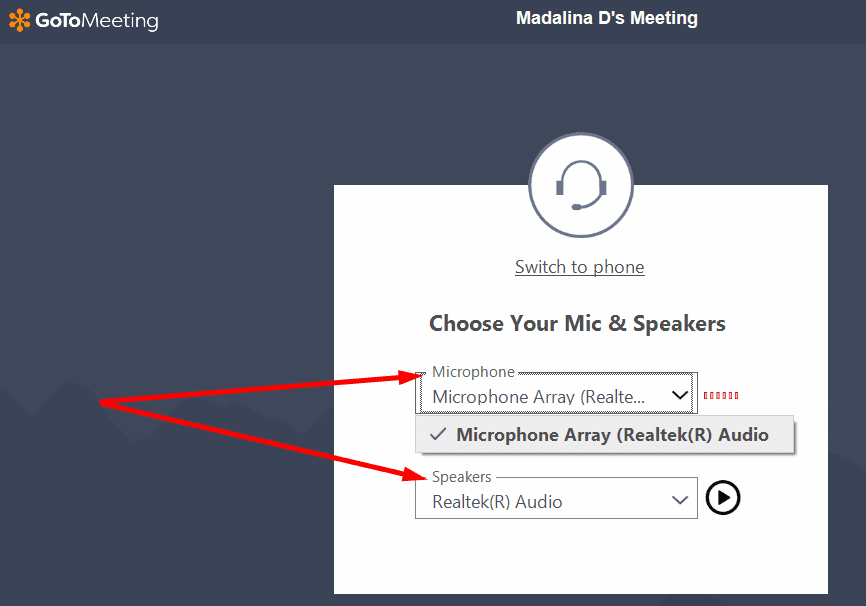 gotomeeting select mic and speaker