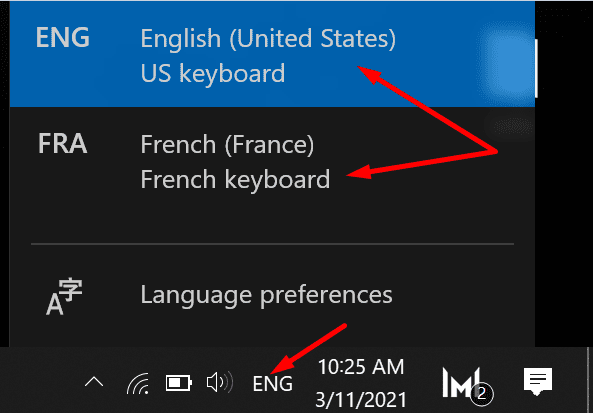 keyboard language settings