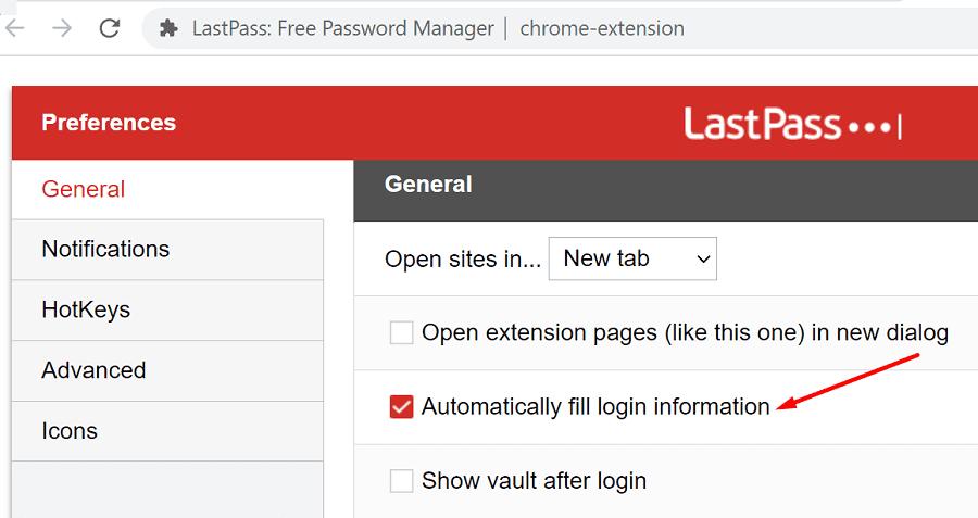 lastpass automatically fill login information