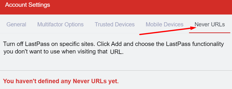 lastpass never URL