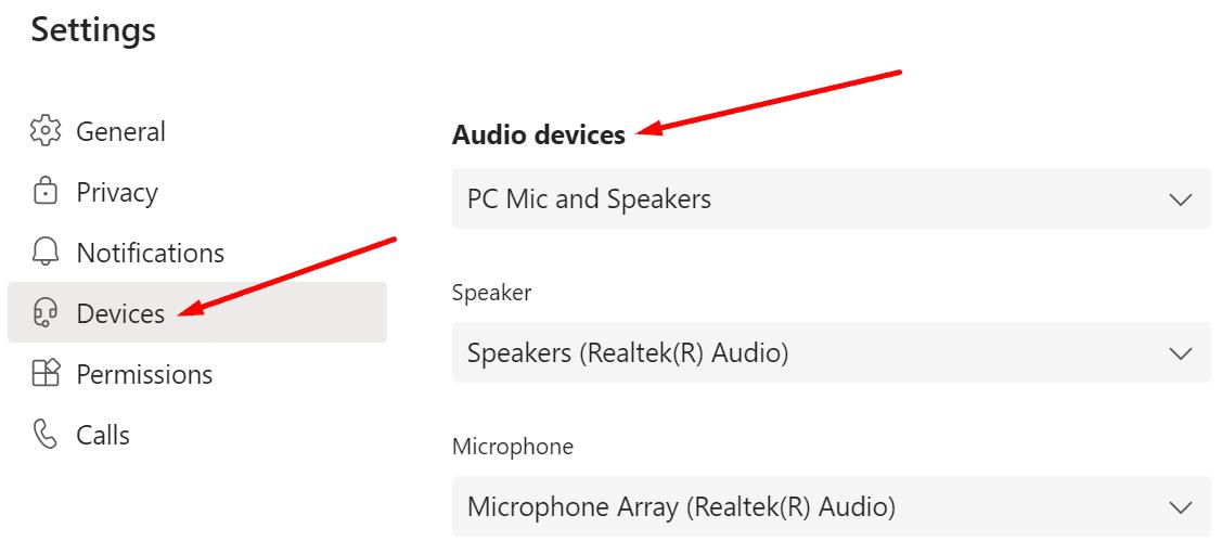 microsoft teams audio devices settings