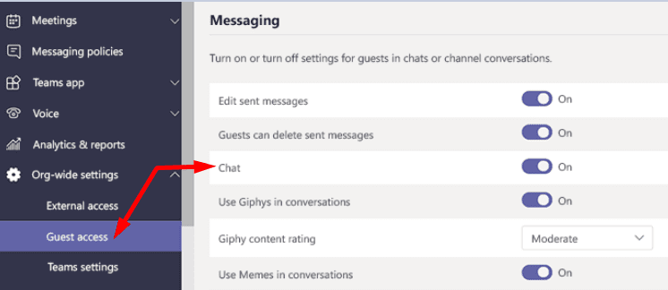 microsoft teams guest access chat option