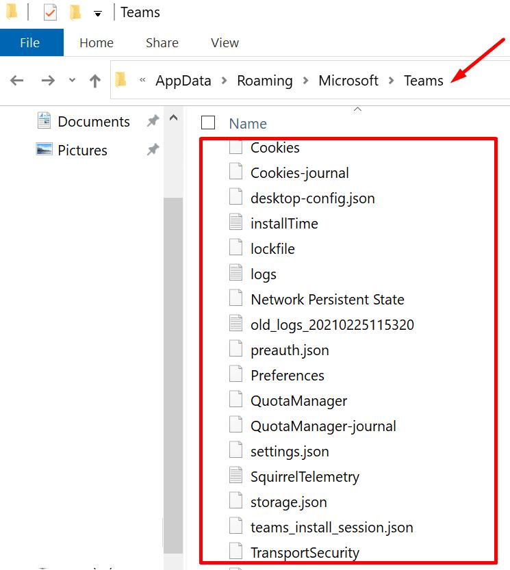 microsoft teams main folder