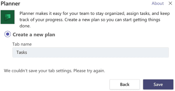 microsoft teams we couldn't save your tab settings