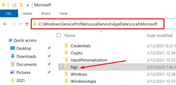 ngc folder location windows 10