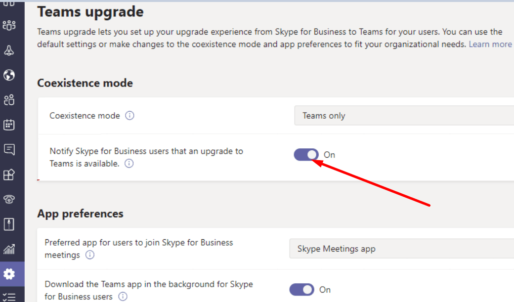 notify skype for business users upgrade to teams