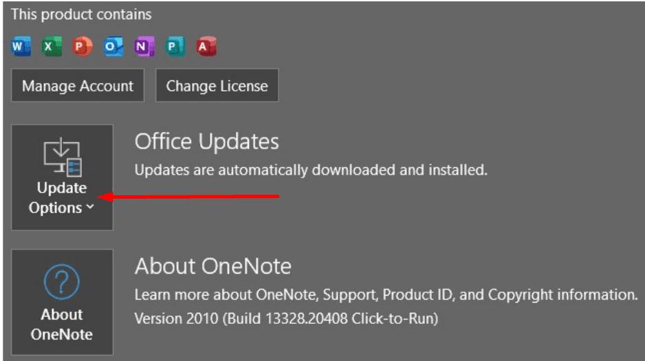aggiornamenti di onenote office