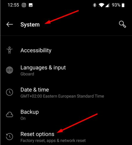 oneplus reset options