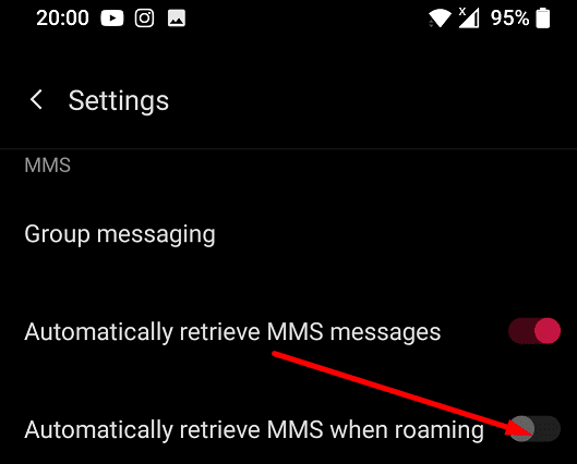 oneplus retrieve MMS when roaming