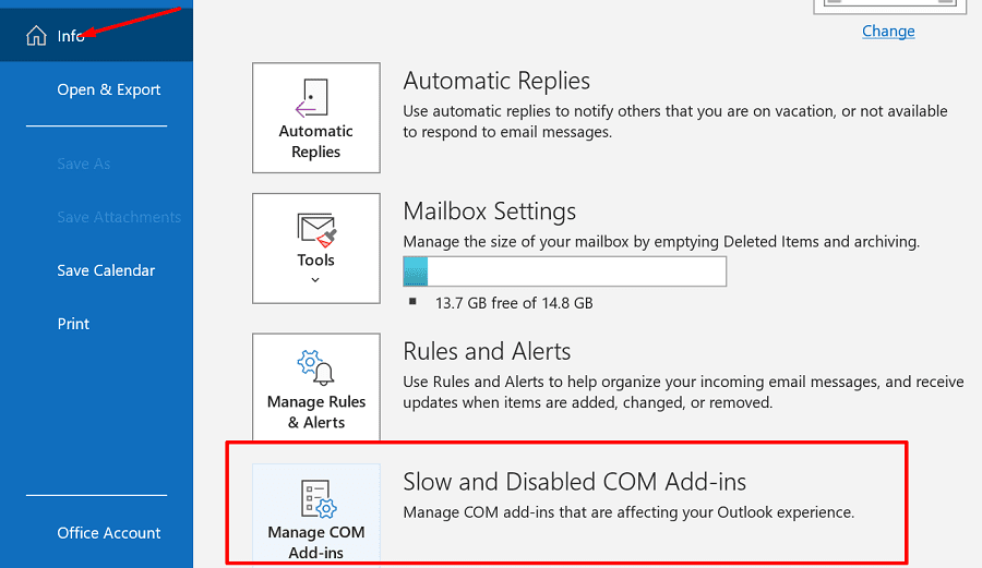 outlook slow and disabled add-ins