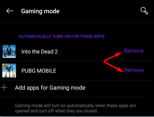 remove games from gaming mode oneplus