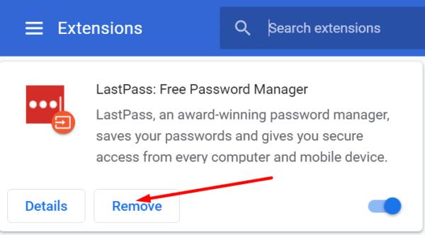 rimuovere l'estensione lastpass dal browser