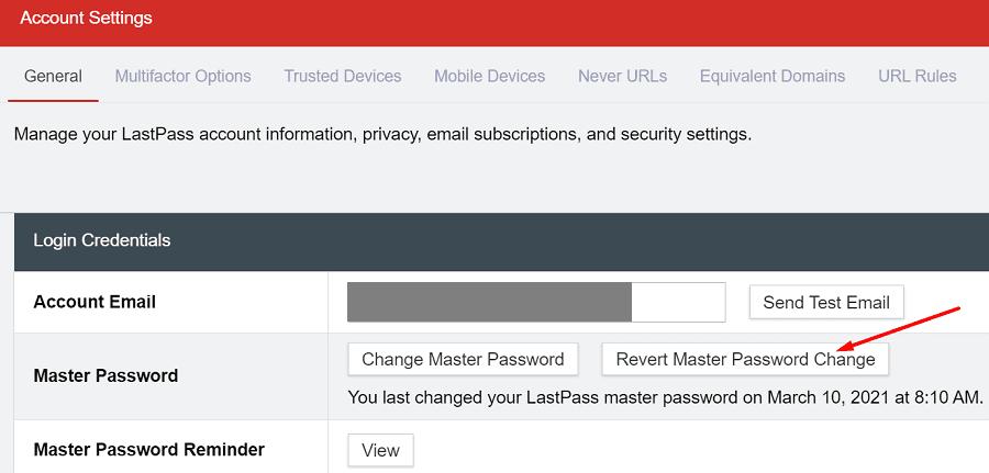 revert master password change