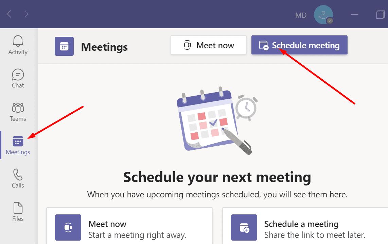 schedule meeting teams