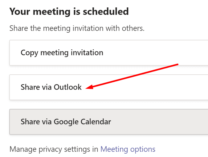 share teams meeting via outlook