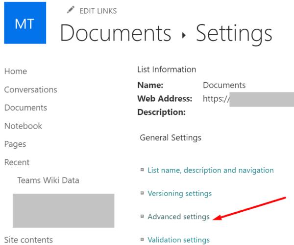 sharepoint advanced settings