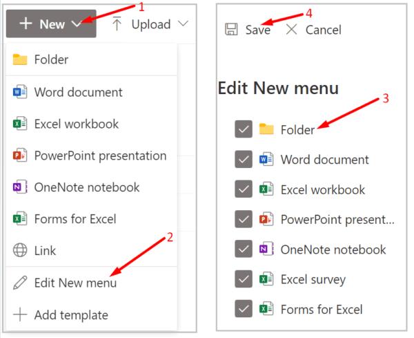 sharepoint edit new menu add folder