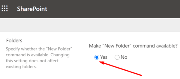 sharepoint make new folder command available