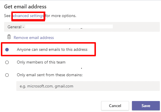 teams allow anyone to send emails to this address