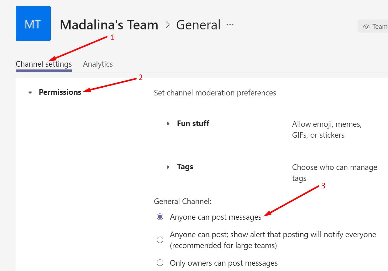 teams general channel settings