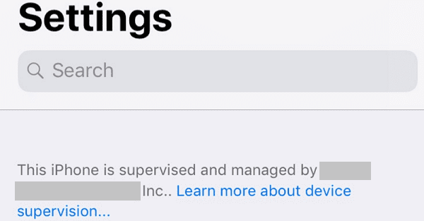 this iphone is supervised and managed
