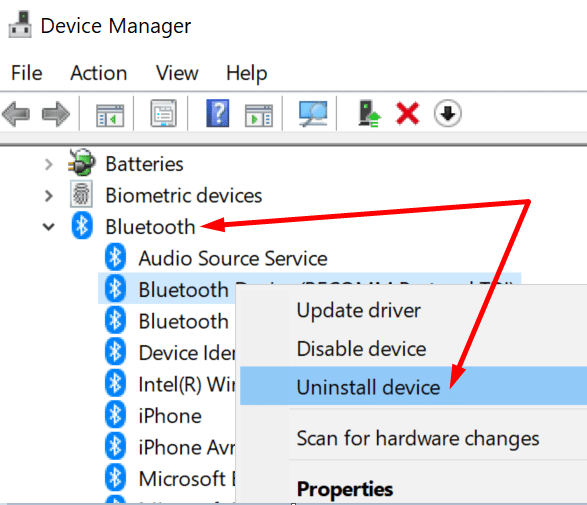 uninstall Bluetooth device device manager