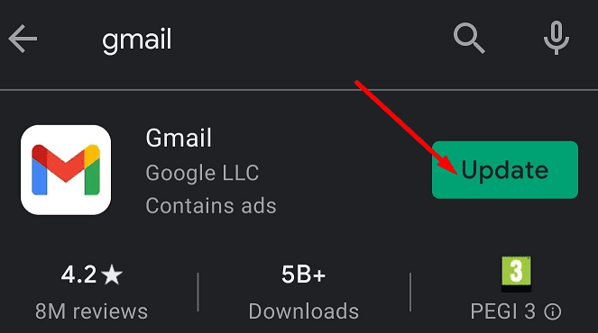 update gmail app android