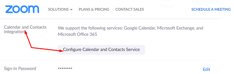 zoom calendar and contacts integration