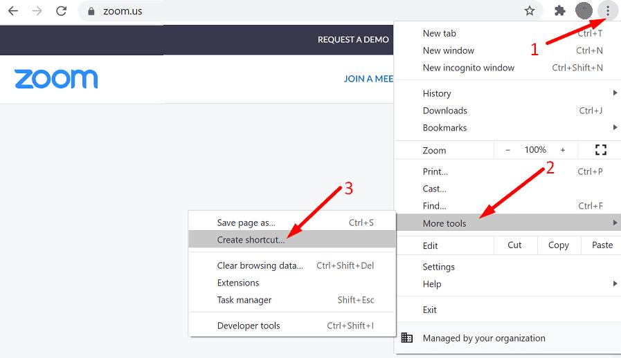 zoom website create shortcut chrome