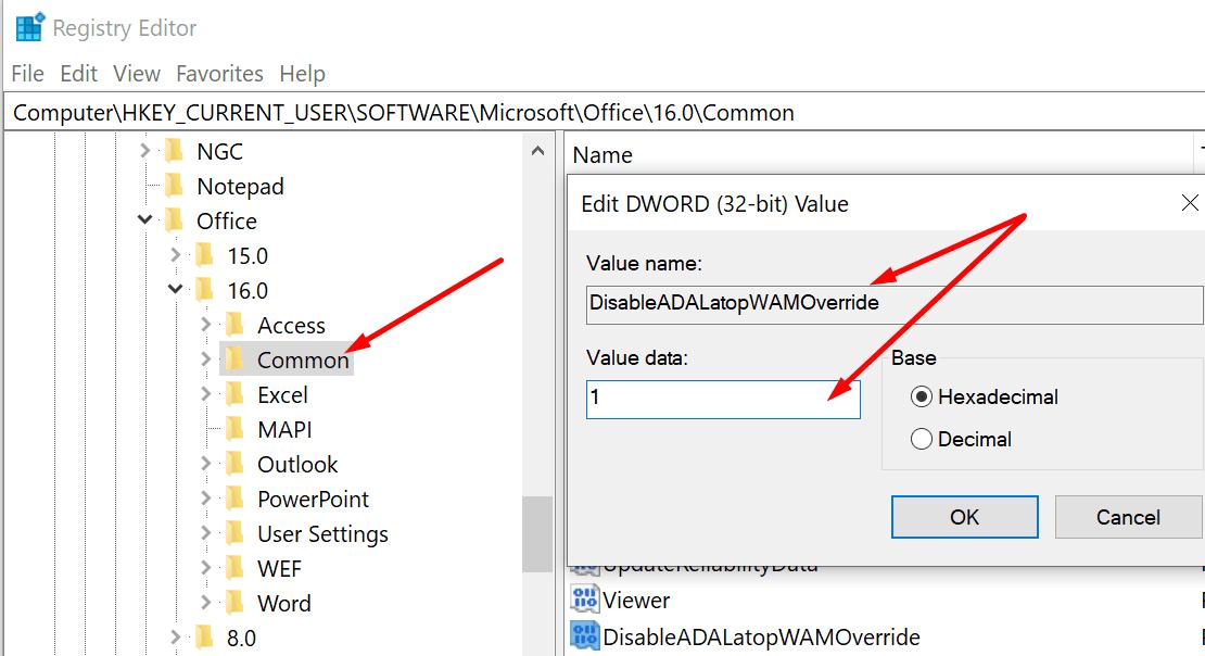 DisableADALatopWAMOverride windows registry