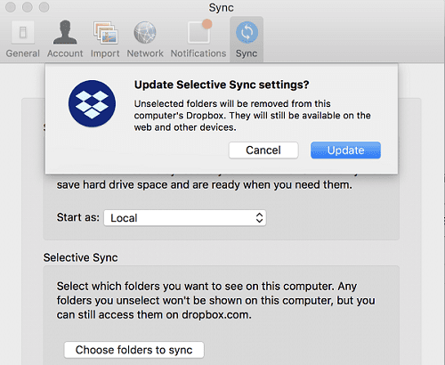 Dropbox Update Selective Sync Preferences