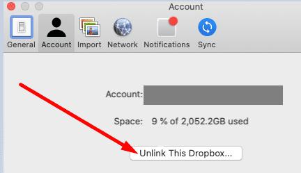 Unlink this dropbox