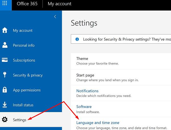 change language settings microsoft 365