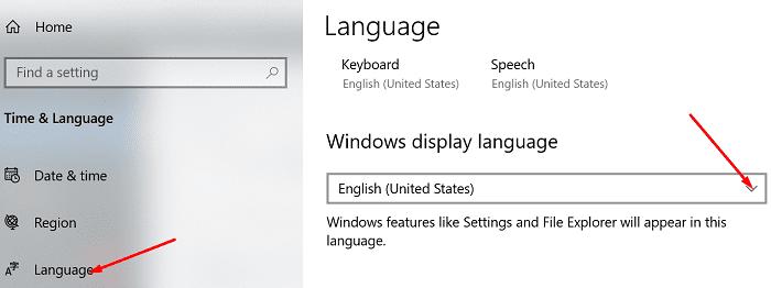 change windows display language