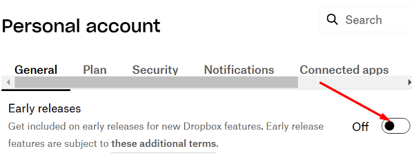 disable dropbox early releases