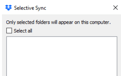 dropbox selective sync not showing any folders
