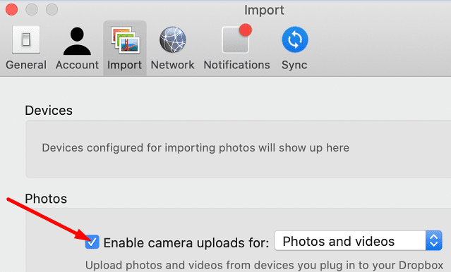 enable camera uploads for photos and videos dropbox