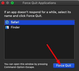 force quit applications macos