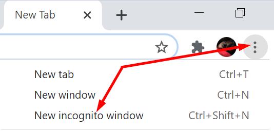 new incognito window chrome