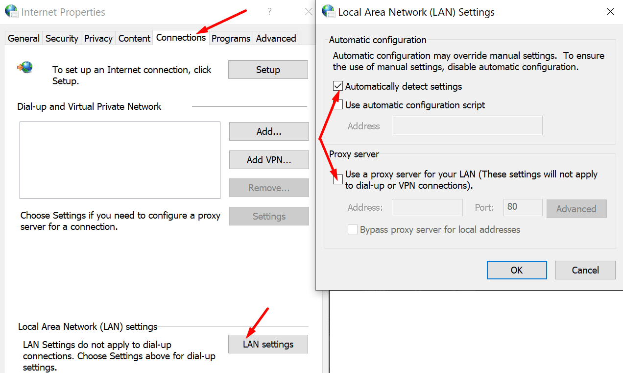 proxy settings windows 10