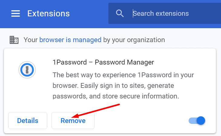 remove 1password browser extension