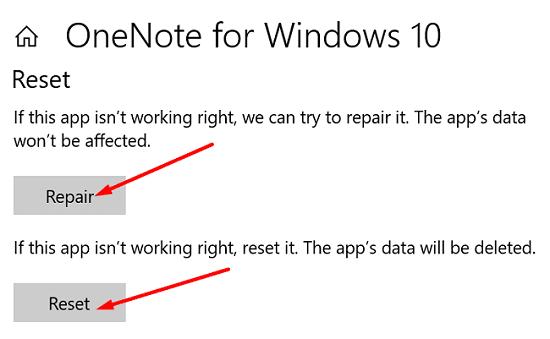 repair-reset-onenote-windows-10