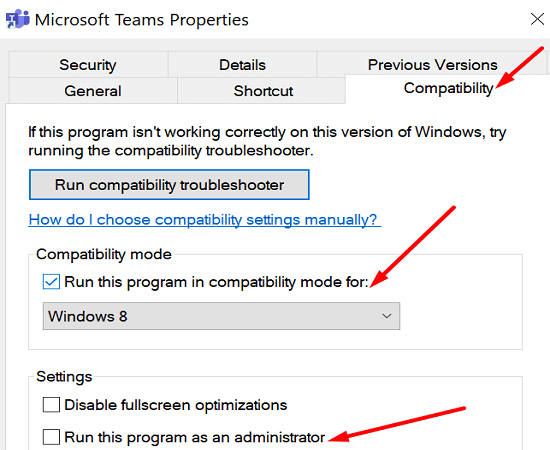 run teams app compatibility mode