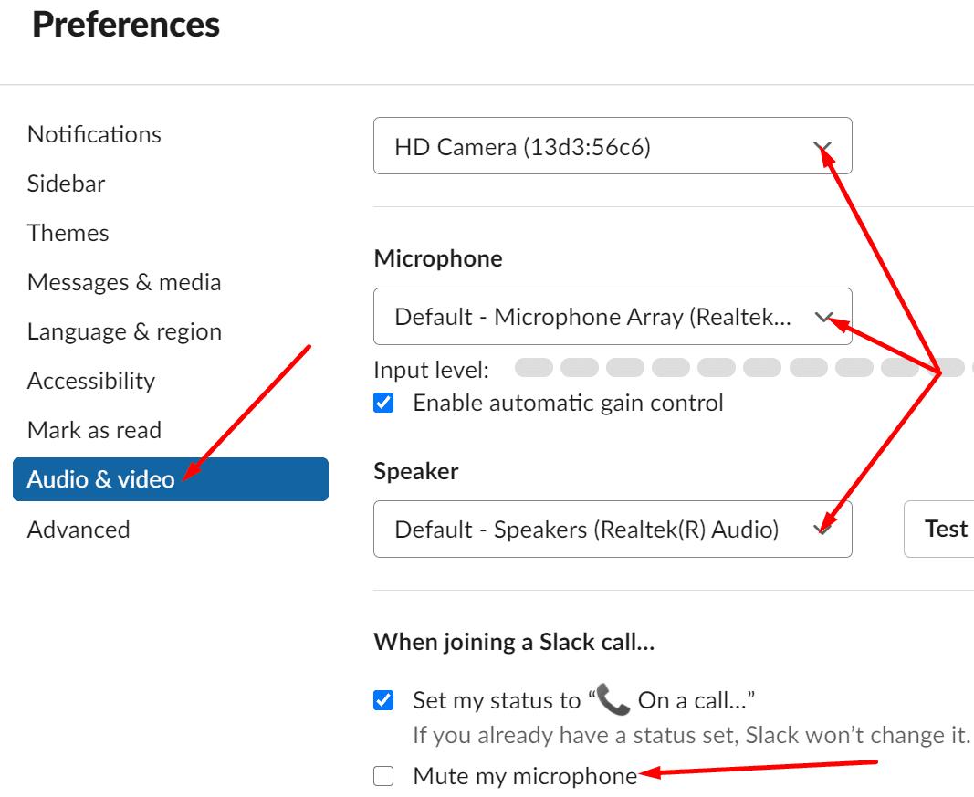 slack audio and video settings
