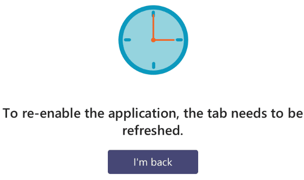 to re-enable the application the tab needs to be refreshed error