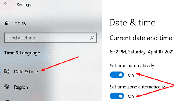 windows 10 set time and time zone automatically
