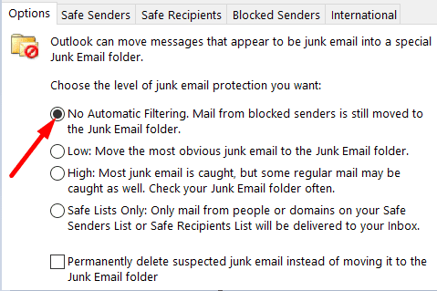 junk-E-mail-Options-outlook